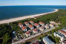 Świnoujście, from bird's eye view you can see the direct access to the sea, and the simple and easy arrangement of apartment houses.