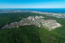 This part of Gdynia is located inside beech forest, on moraine heights. Pictures from higher altitude show how close this place is to the centre of Gdynia and Gdańsk Bay.