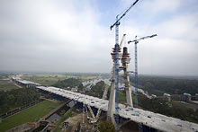 Pylons of the bridge of motorway bypass of Wrocław, under construction.